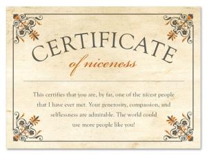 certificate of niceness